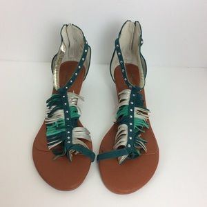 Matt Bergson fringed studded wedge sandals 9.5W